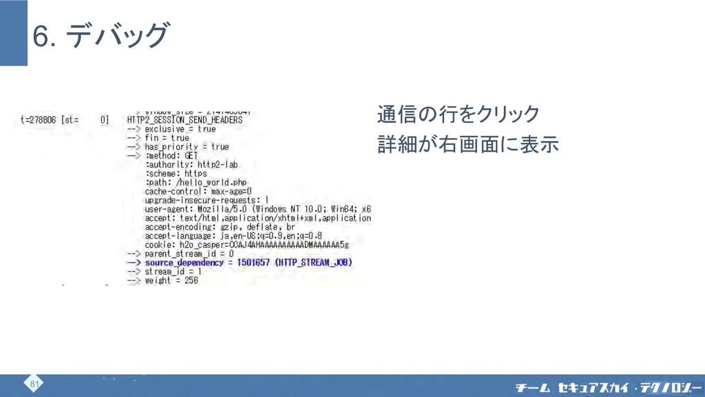 6. デバッグ 通信の行をクリック 詳細が右画面に表示 81