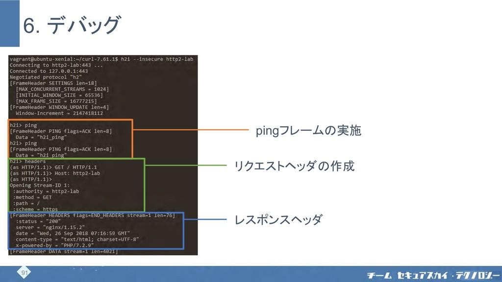 6. デバッグ pingフレームの実施 リクエストヘッダの作成 レスポンスヘッダ 91