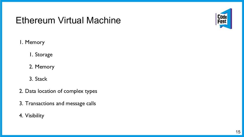 Ethereum Virtual Machine 15 1. Memory 1. Storag...