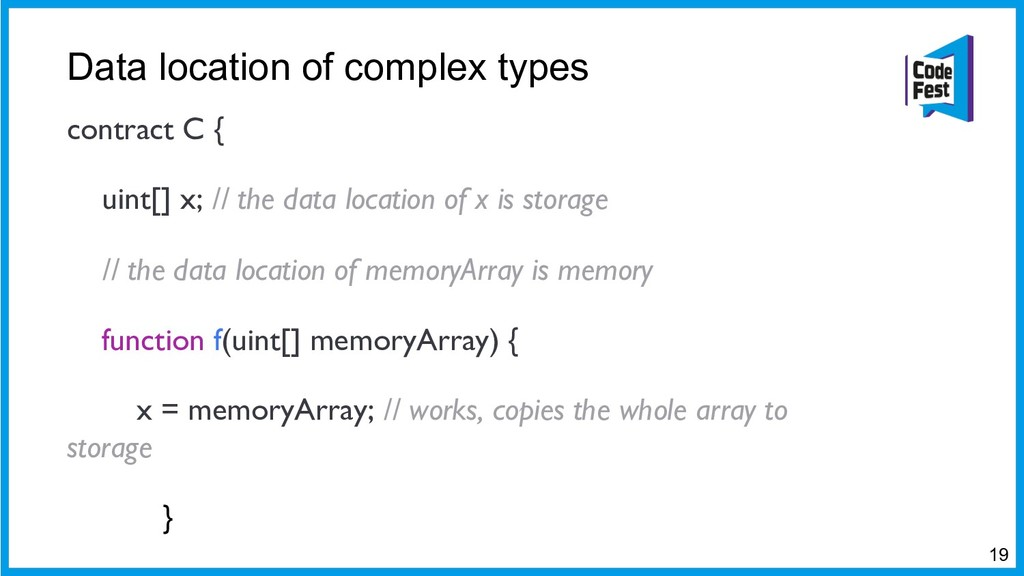 Data location of complex types contract C { uin...