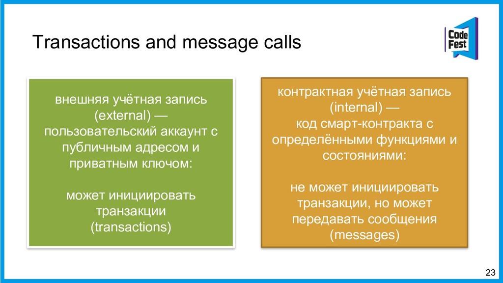 Transactions and message calls 23 внешняя учётн...