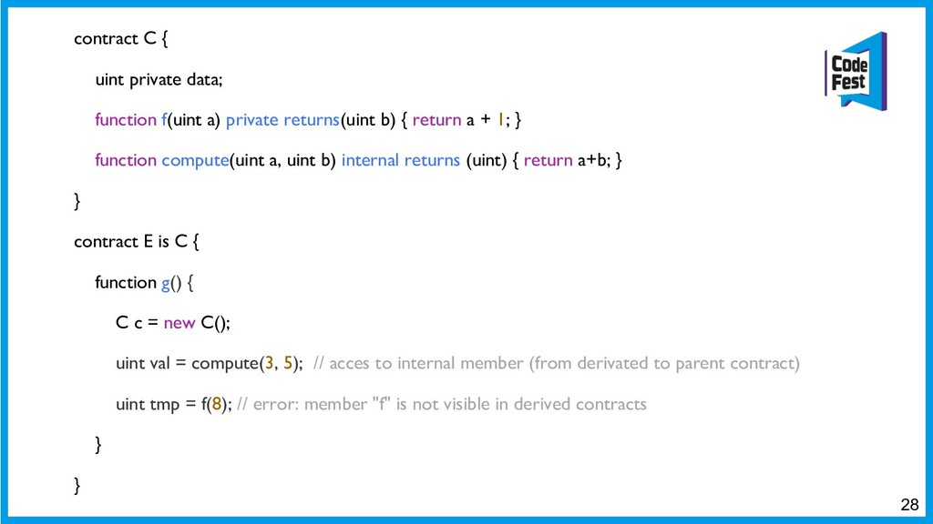 contract C { uint private data; function f(uint...
