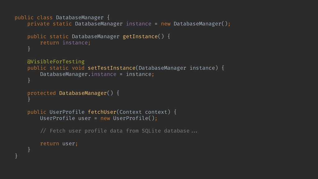 public class DatabaseManager { private static D...