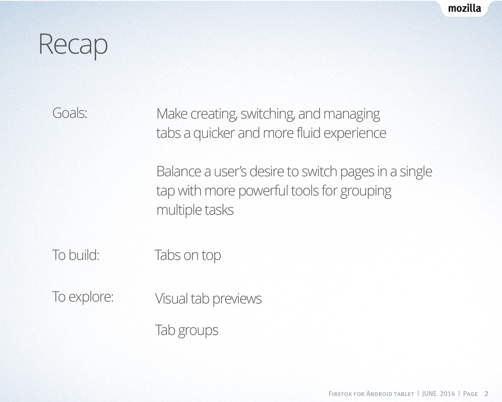 Firefox for Android tablet | JUNE 2014 | Page 2...