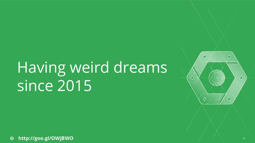 30 Having weird dreams since 2015 http://goo.gl...