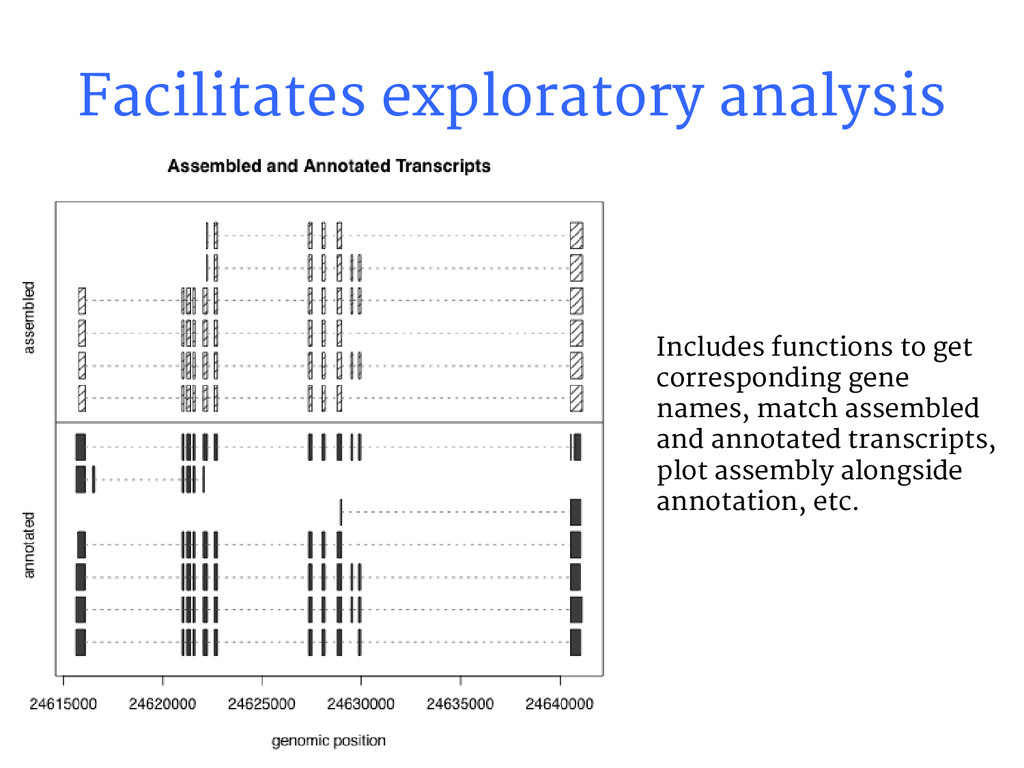 Facilitates exploratory analysis Includes funct...