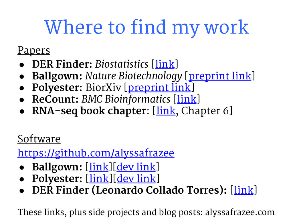 Papers ● DER Finder: Biostatistics [link] ● Bal...