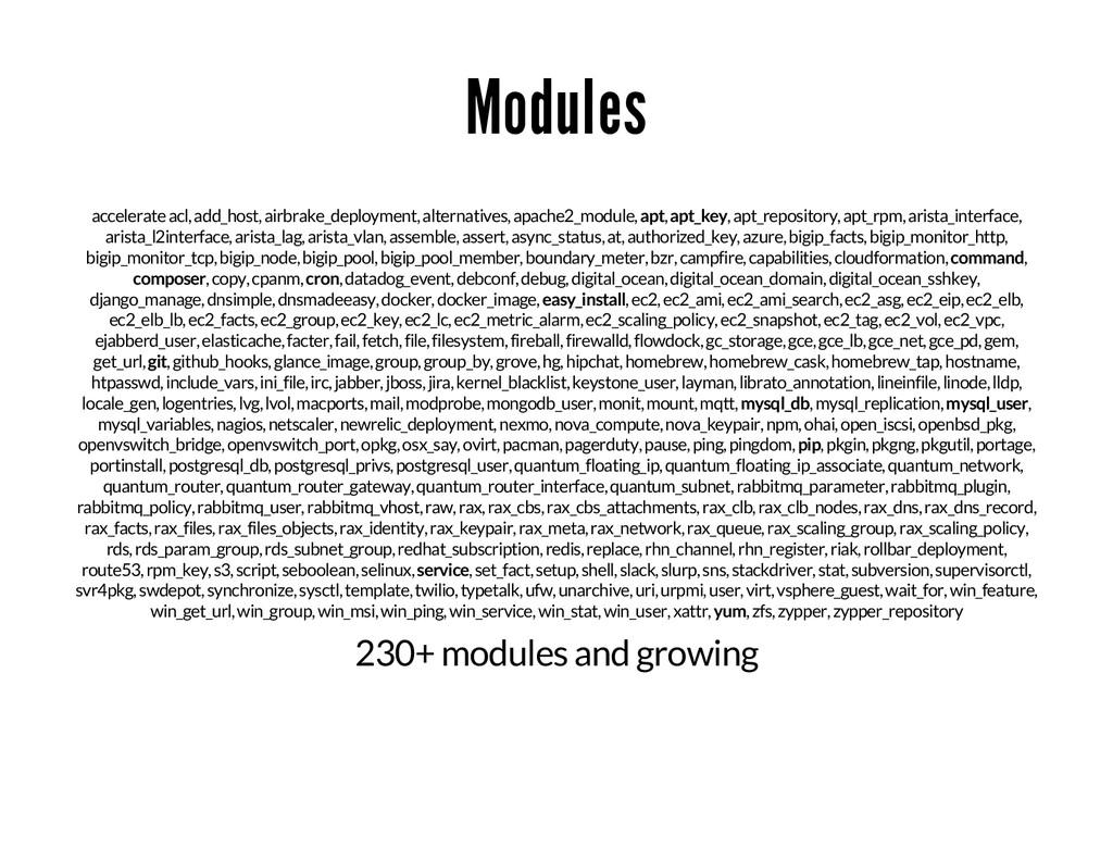Modules accelerate acl, add_host, airbrake_depl...