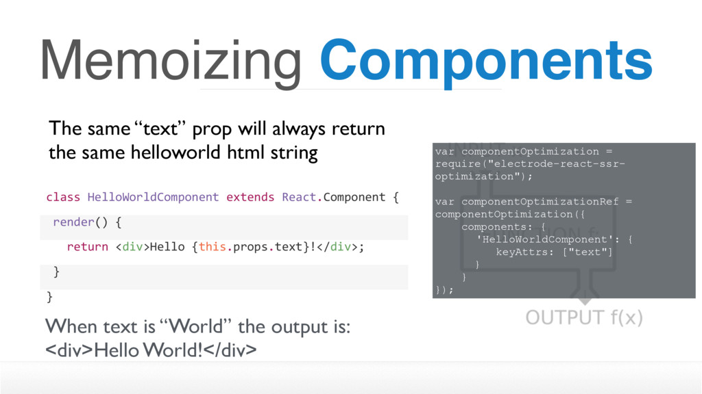"Memoizing Components The same ""text"" prop will ..."