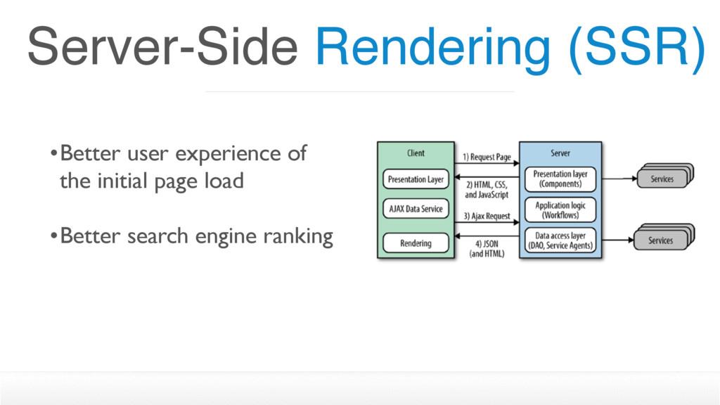 Server-Side Rendering (SSR) •Better user experi...