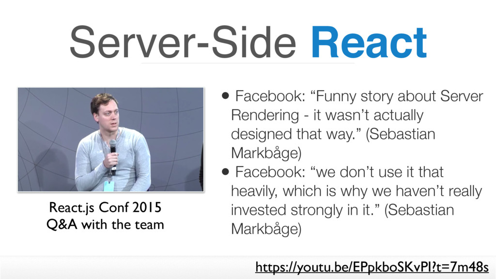 "Server-Side React • Facebook: ""Funny story abou..."