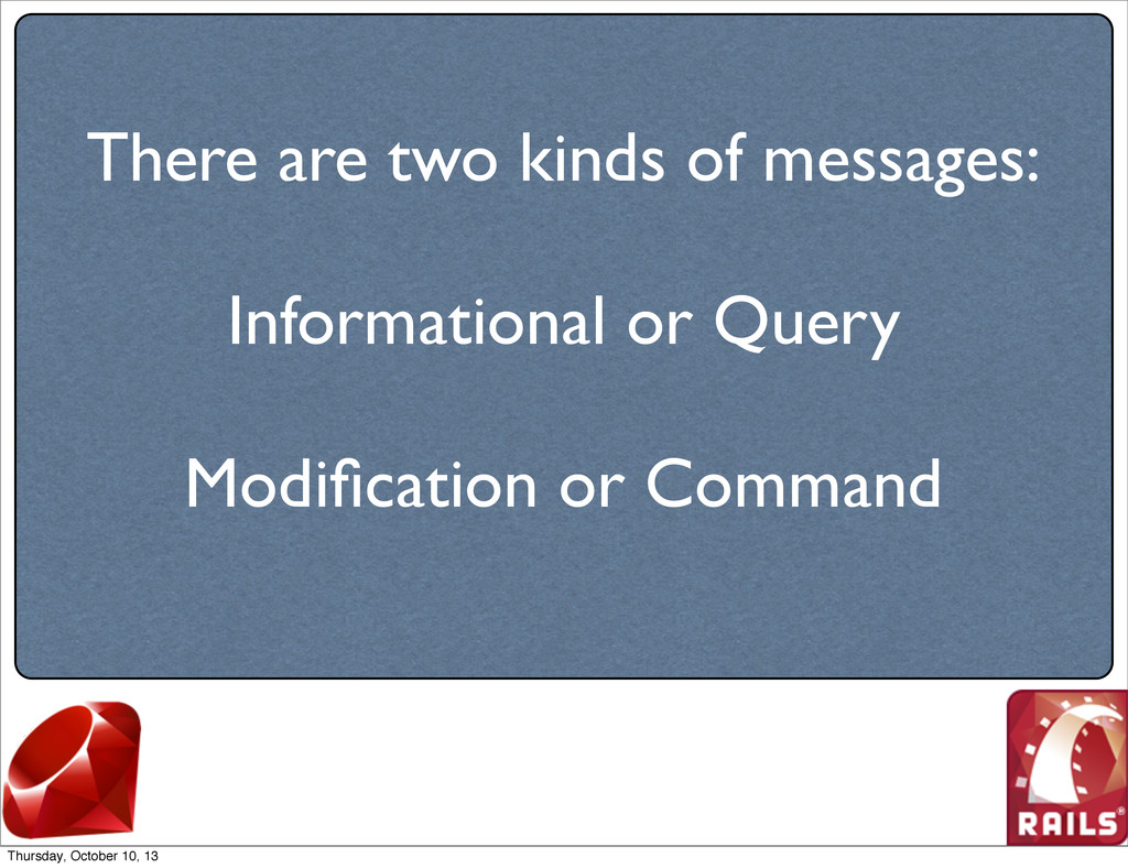 There are two kinds of messages: Informational ...