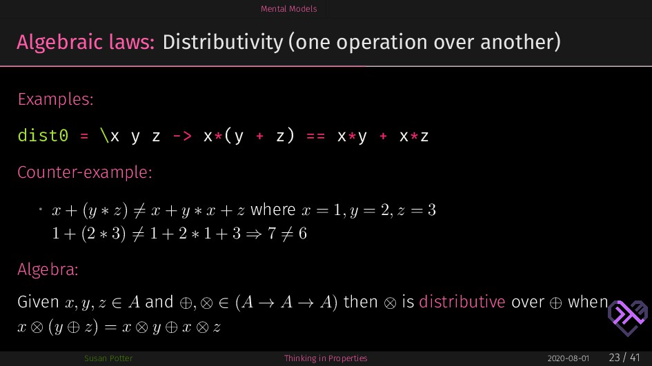 Mental Models Algebraic laws: Distributivity (o...