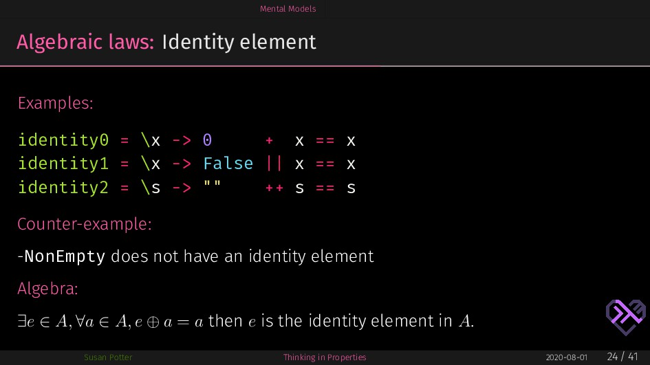 Mental Models Algebraic laws: Identity element ...
