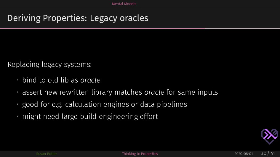 Mental Models Deriving Properties: Legacy oracl...