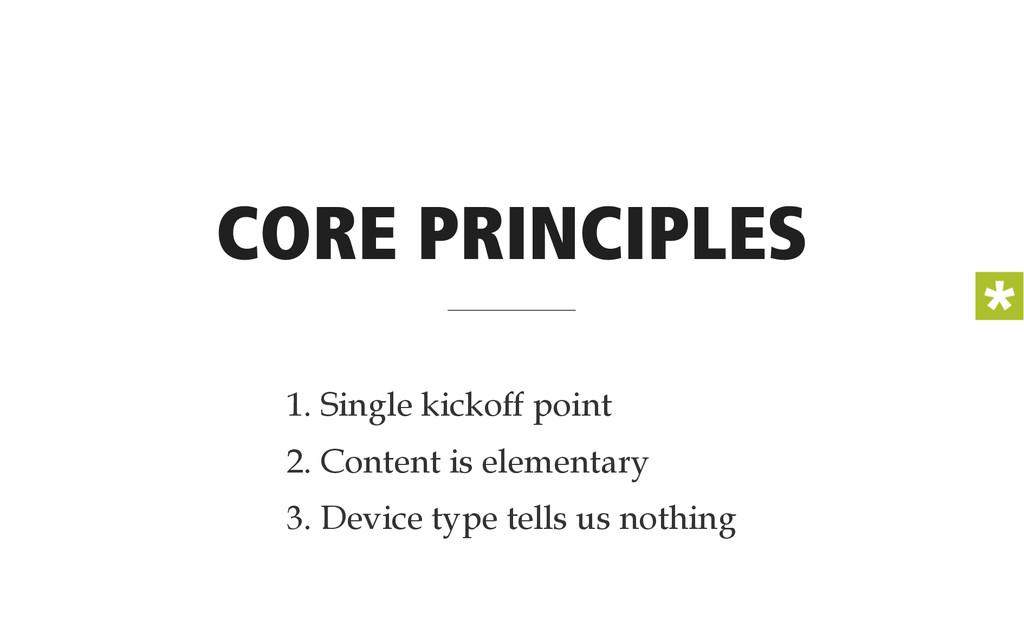 CORE PRINCIPLES 1. Single kickoff point 2. Cont...