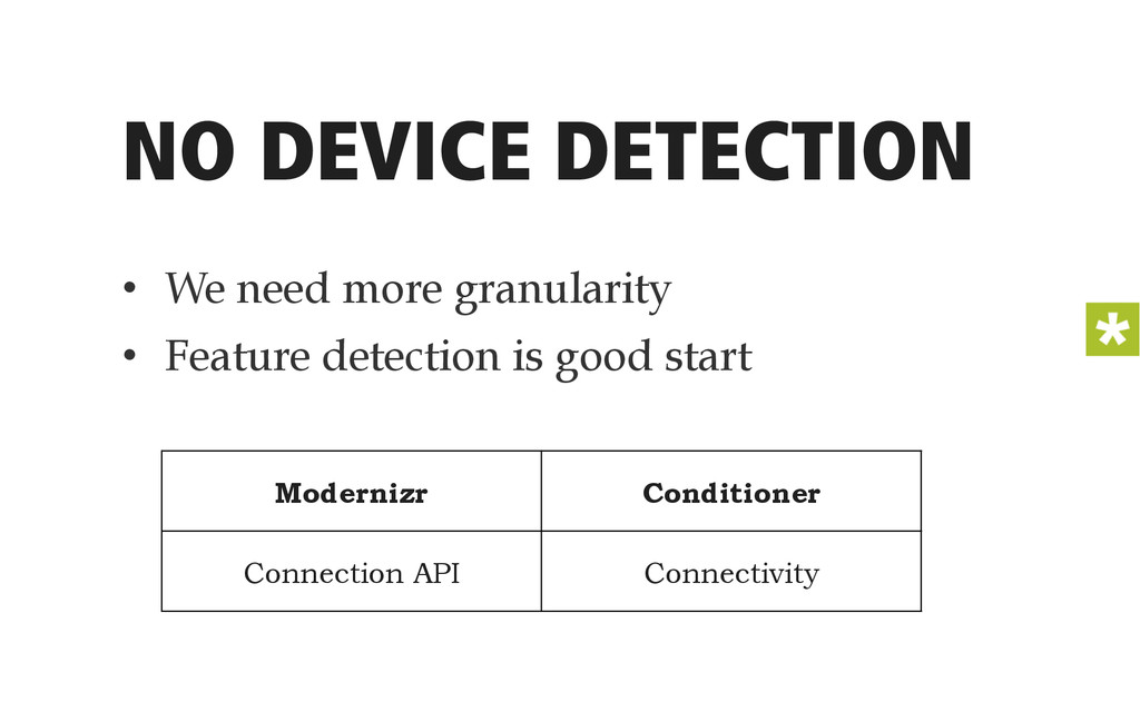 NO DEVICE DETECTION • We need more granularity...