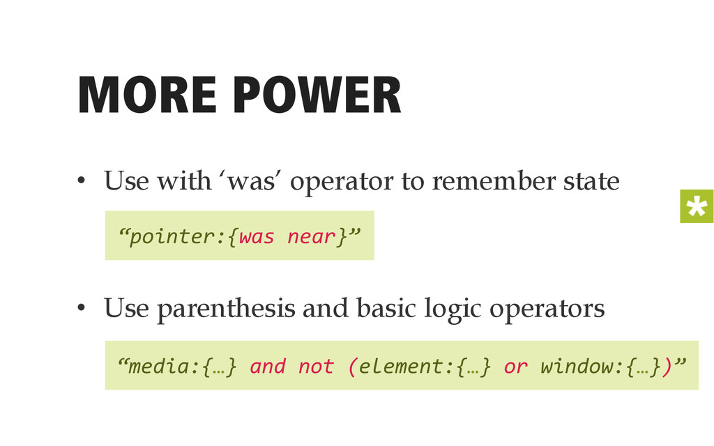 MORE POWER • Use with 'was' operator to rememb...
