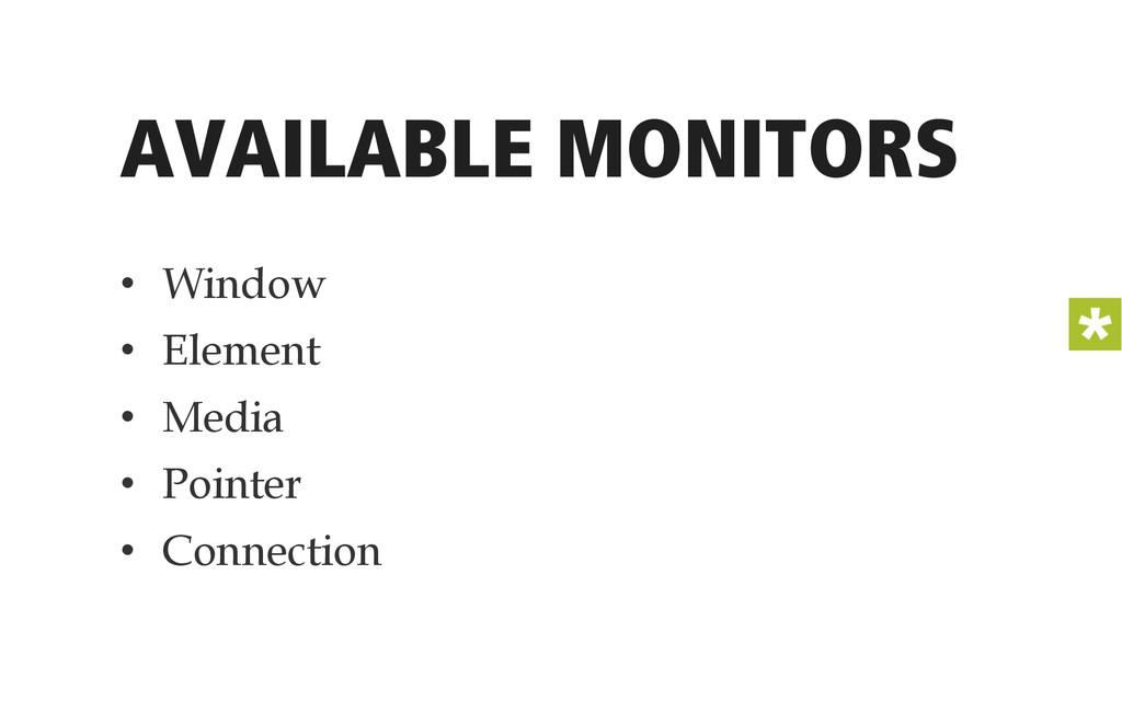 AVAILABLE MONITORS • Window • Element • Medi...