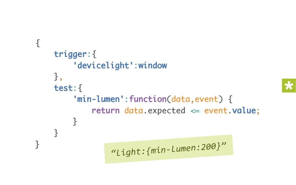 { trigger:{ 'devicelight':window }, test:{...