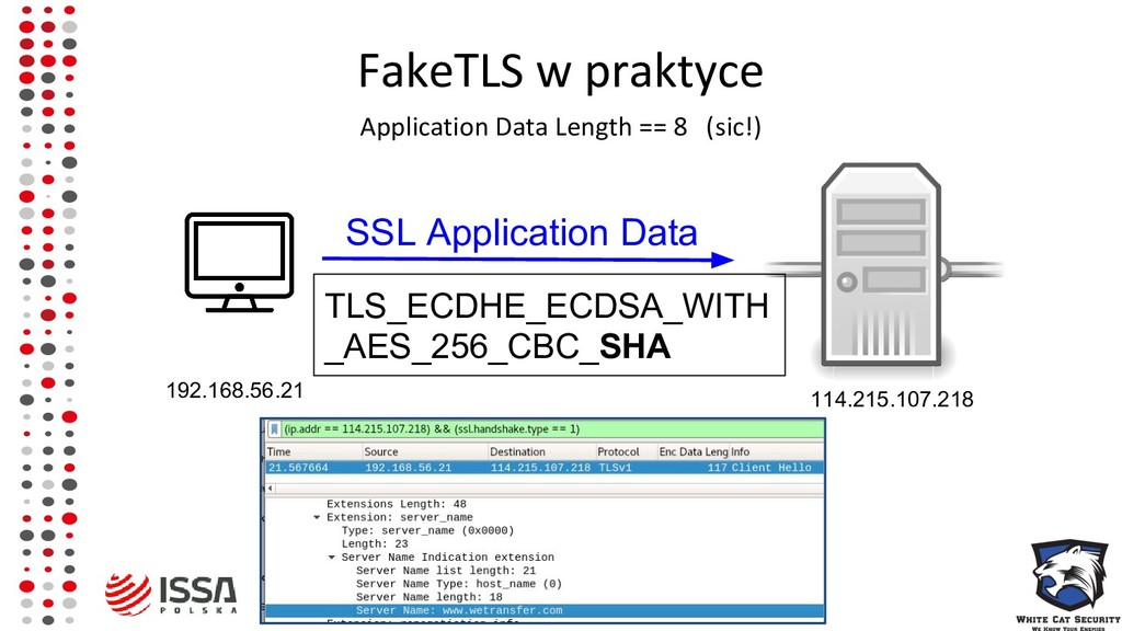 FakeTLS w praktyce Application Data Length == 8...