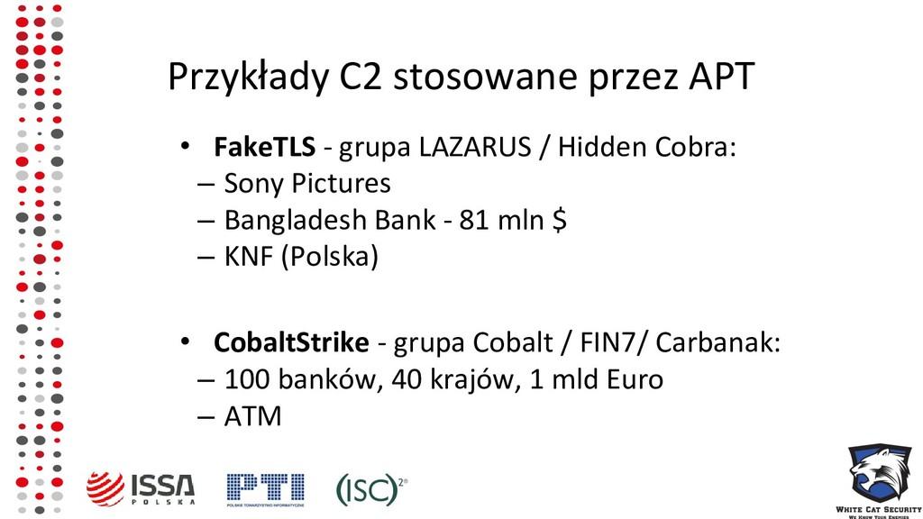 Przykłady C2 stosowane przez APT • FakeTLS - gr...