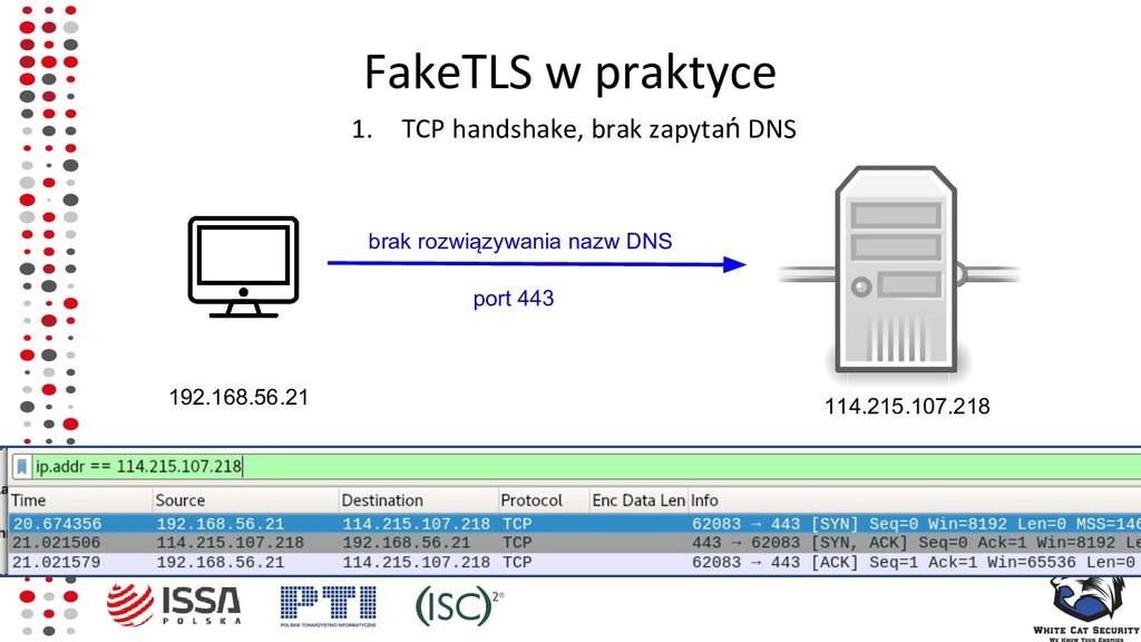 FakeTLS w praktyce 1. TCP handshake, brak zapyt...
