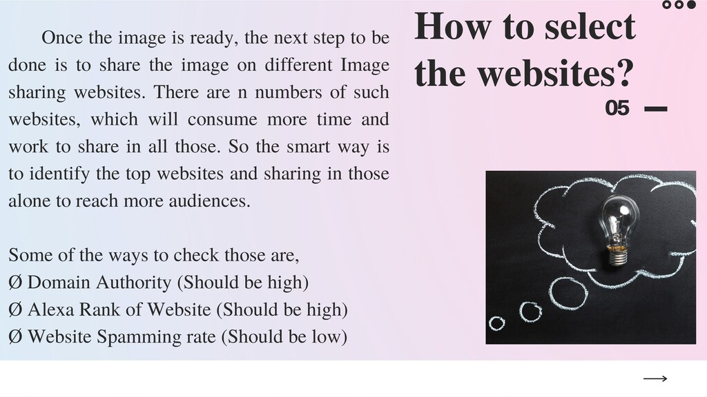 How to select the websites? 05 Once the image i...
