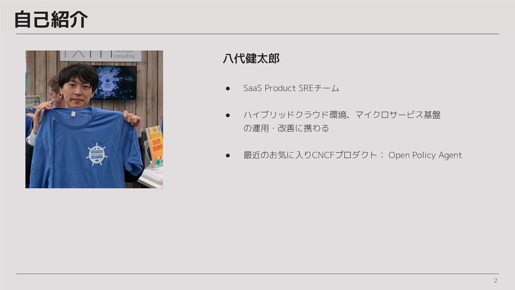 自己紹介 八代健太郎 ● SaaS Product SREチーム ● ハイブリッドクラウド環境...