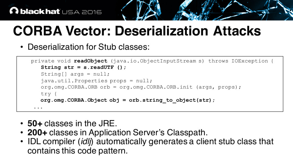CORBA Vector: Deserialization Attacks • Deseria...