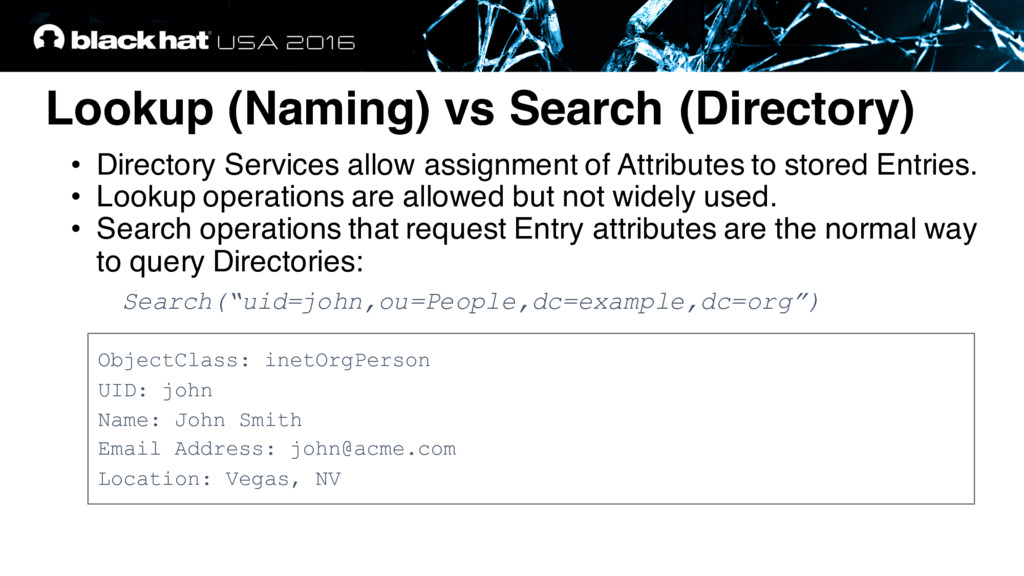 Lookup (Naming) vs Search (Directory) ObjectCla...