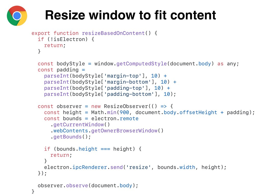 Resize window to fit content export function res...