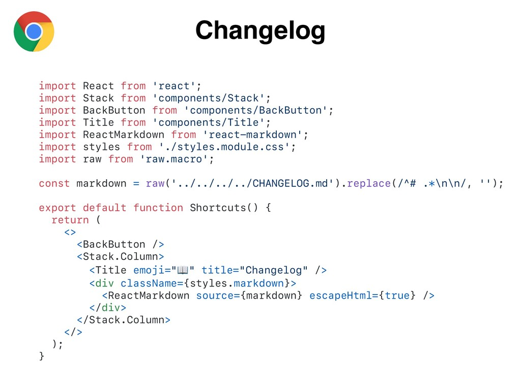 Changelog import React from 'react'; import Sta...