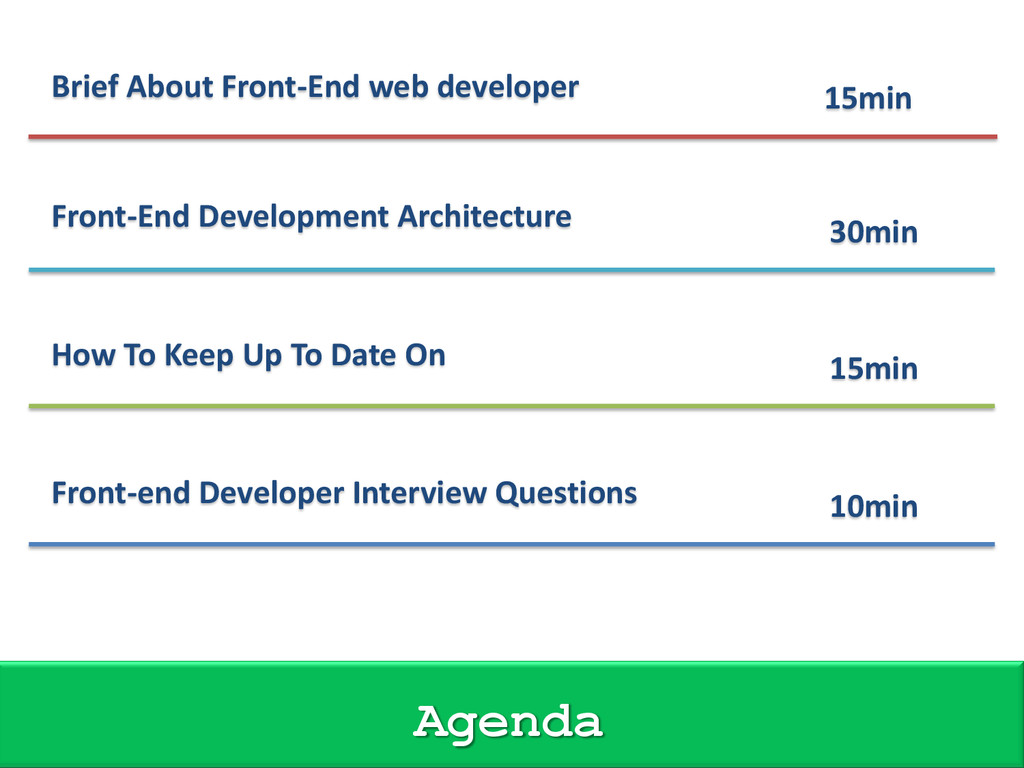 Brief About Front-End web developer 15min Front...
