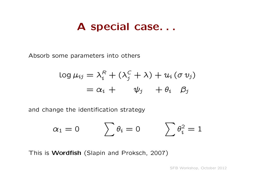A special case. . . Absorb some parameters into...