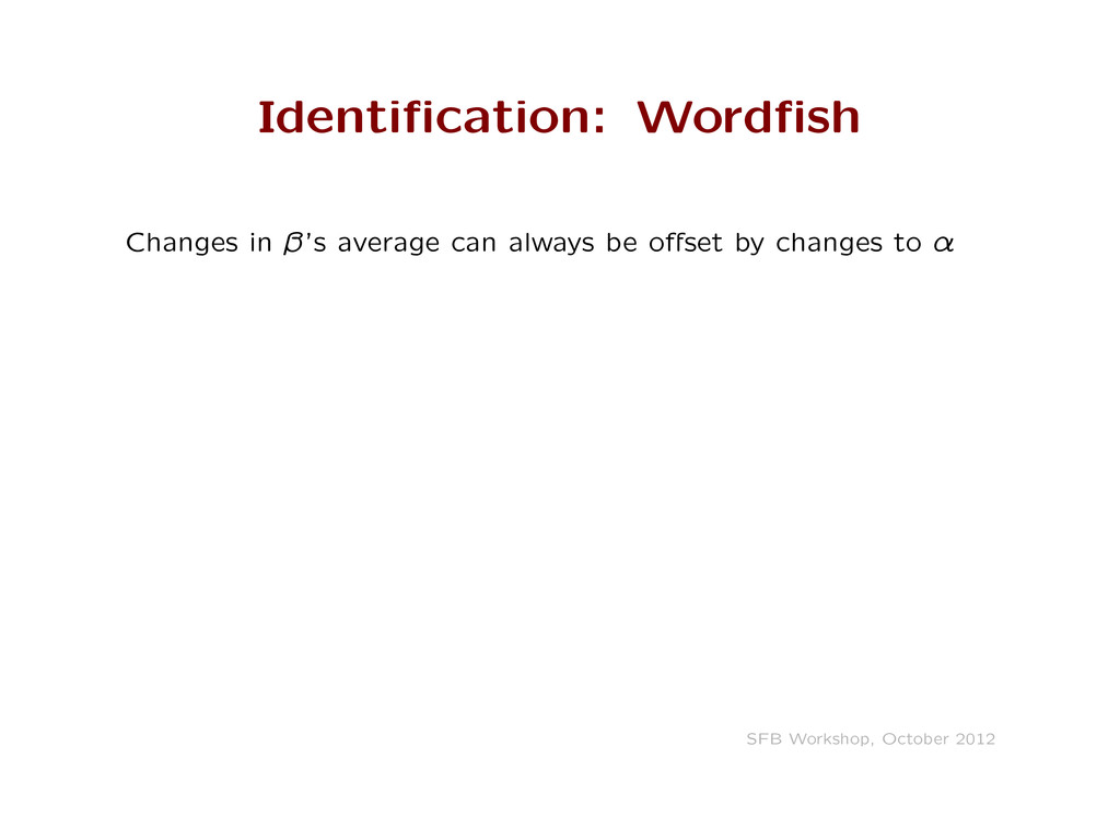 Identification: Wordfish Changes in ˛'s average c...