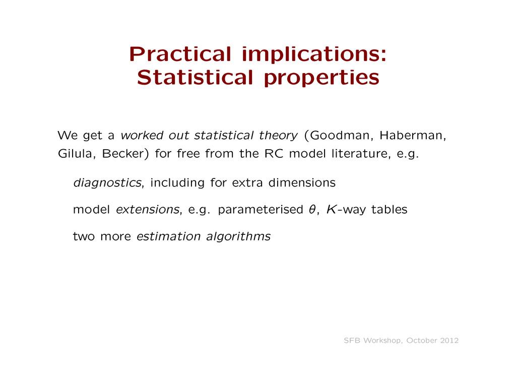 Practical implications: Statistical properties ...