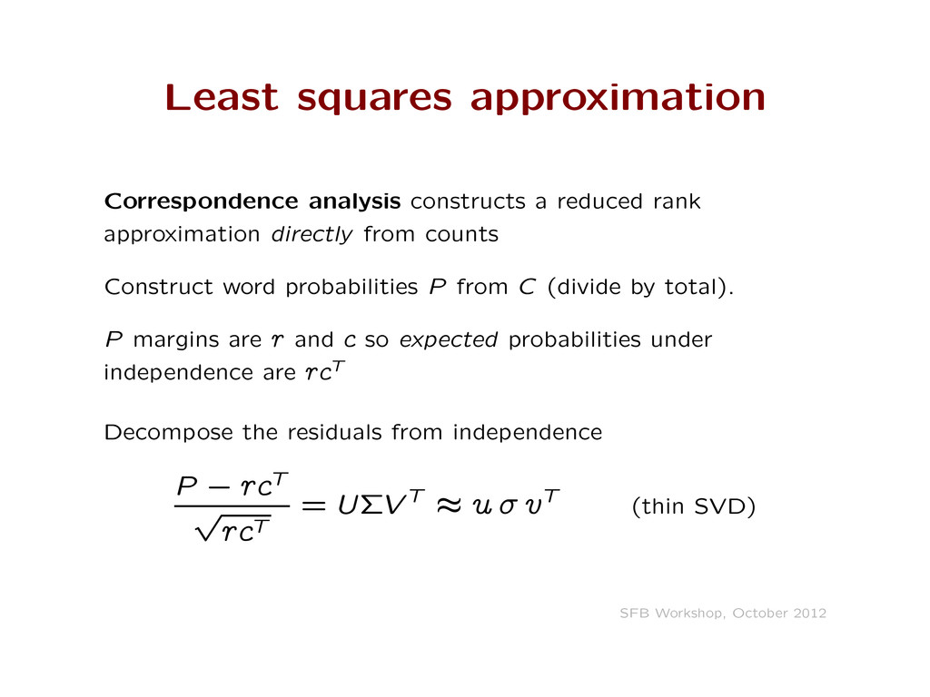 Least squares approximation Correspondence anal...