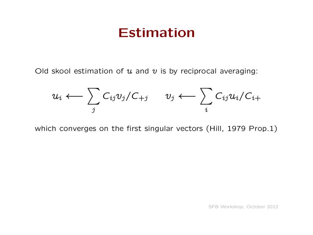 Estimation Old skool estimation of u and v is b...