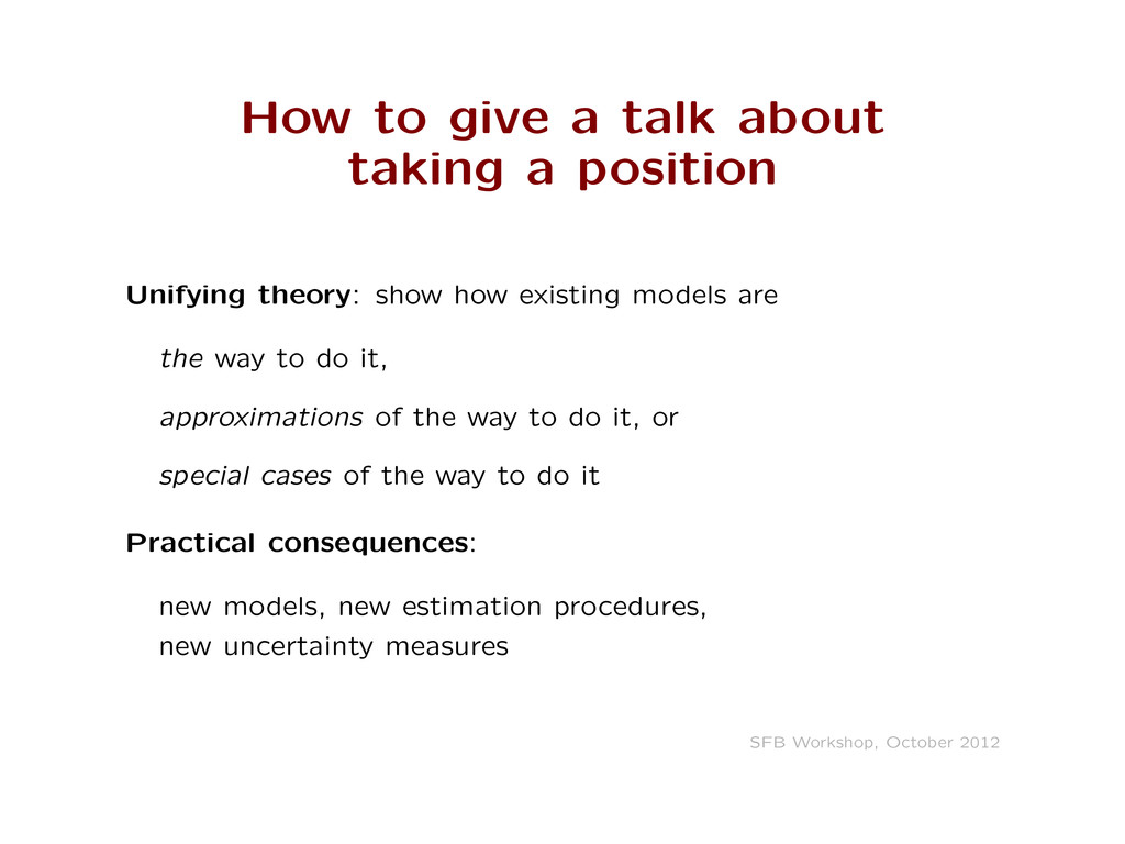 How to give a talk about taking a position Unif...