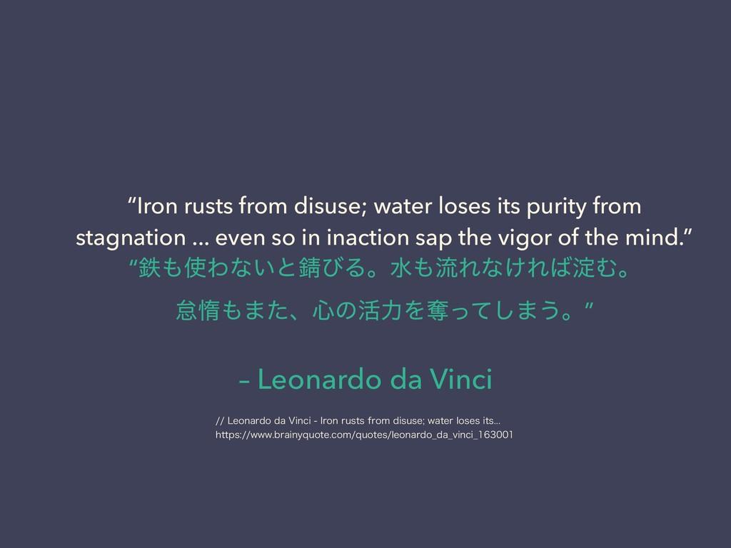 "– Leonardo da Vinci ""Iron rusts from disuse; wa..."