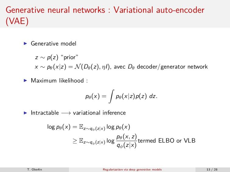 Generative neural networks : Variational auto-e...