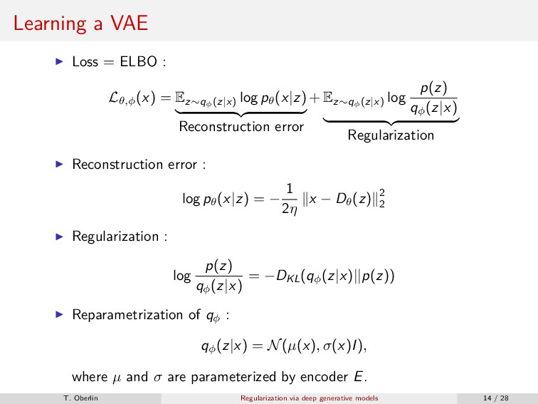 Learning a VAE Loss = ELBO : Lθ,φ (x) = Ez∼qφ (...