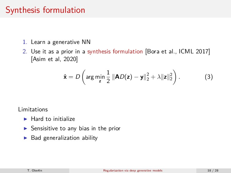 Synthesis formulation 1. Learn a generative NN ...