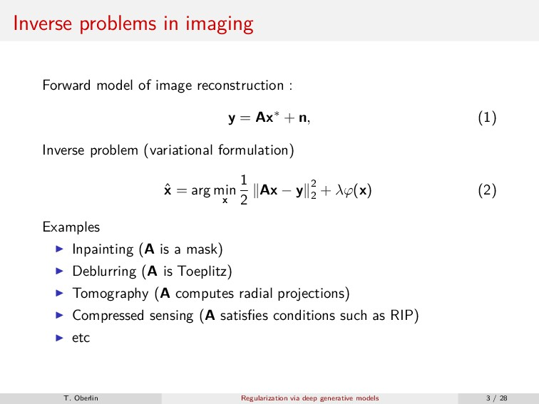 Inverse problems in imaging Forward model of im...