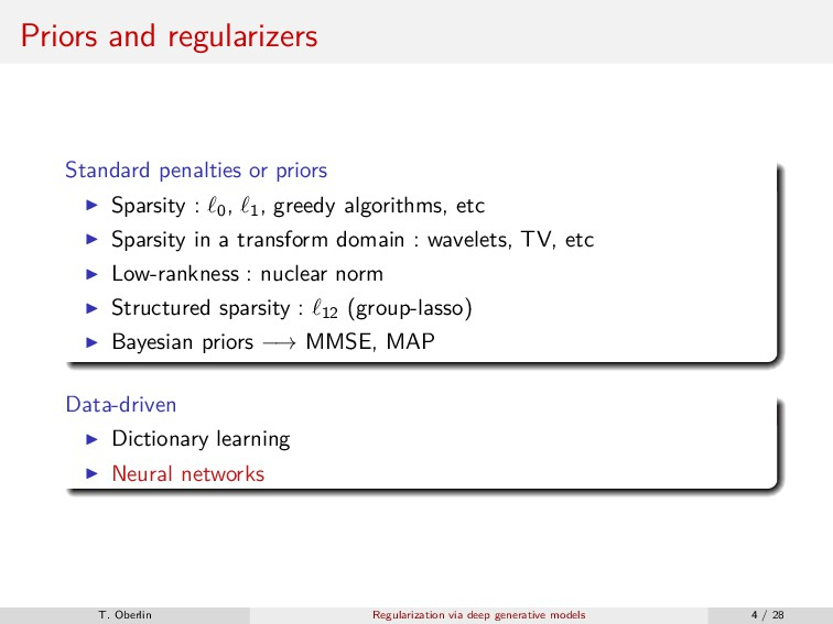 Priors and regularizers Standard penalties or p...