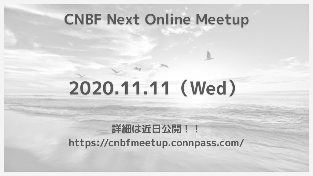 CNBF Next Online Meetup 2020.11.11(Wed) 詳細は近日公開...