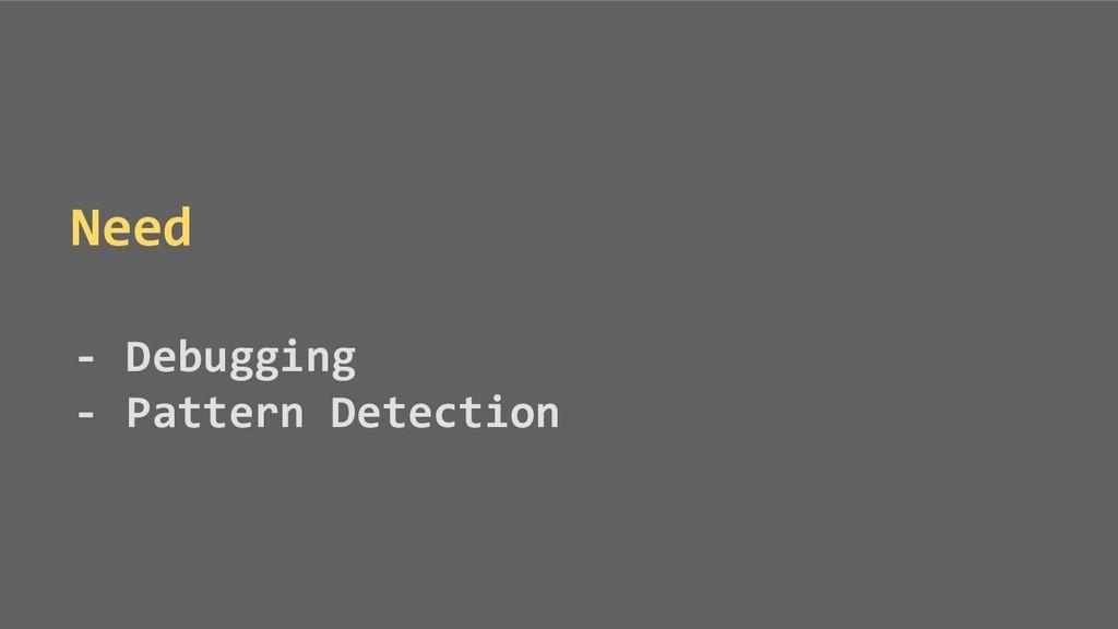 Need - Debugging - Pattern Detection