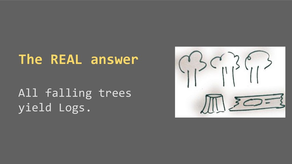 The REAL answer All falling trees yield Logs.