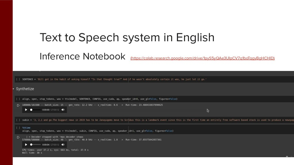 Text to Speech system in English Inference Note...
